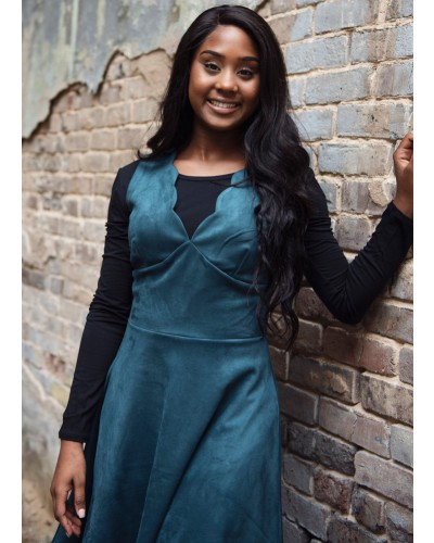 Sleeveless Fit and Flare Dress in Dark Teal by Dex