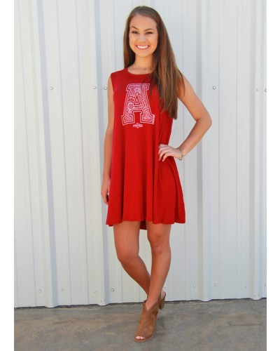 Paisley ''A'' for Arkansas in White on Red Dress by Stated Apparel