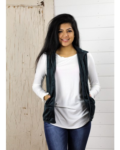 Velvet Padding Vest in Forrest Green