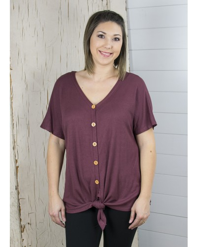 Waffle Front Tie Top in Red Bean