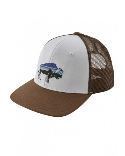 Fitz Roy Bison Trucker Hat in White/Timber by Patagonia