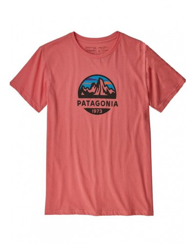 Men's Fitz Roy Scope Organic Tee in Spiced Coral by Patagonia