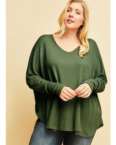 Plus Waffle Knit Top in Olive