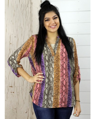 V Neck Reptile Print Top in in Multi by Entro