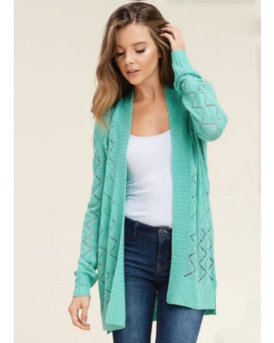 Pointelle Cardigan in Jade