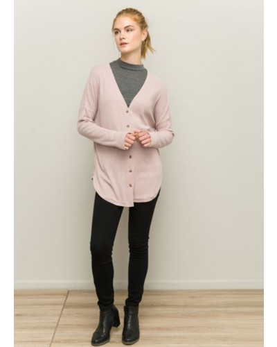 Oversize Knot Front Cardigan in Blush by Hem & Thread