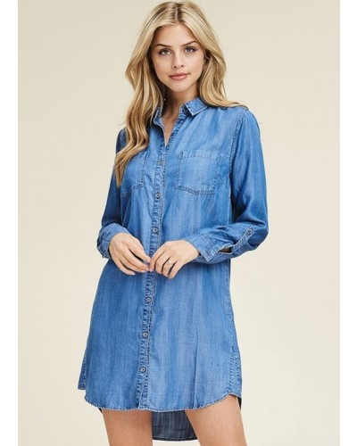 Basic Collar Button Down Front Roll Tab Sleeve Dress by Staccato