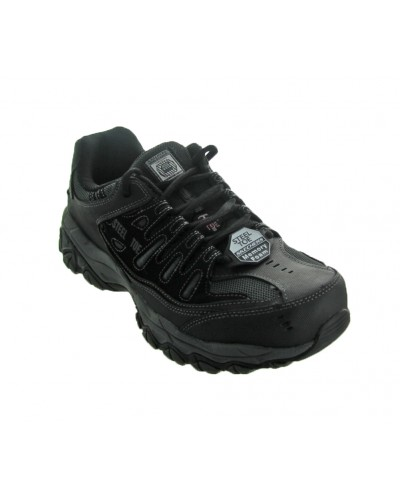 Crankton Steel Toe Work Shoe in Black by Skechers