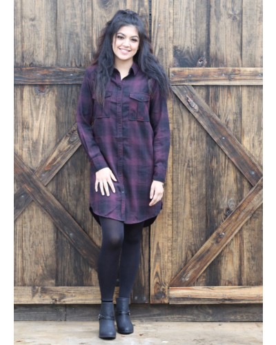 Roll-Up L/S Tunic Blouse in Burgundy/Black Plaid by Dex