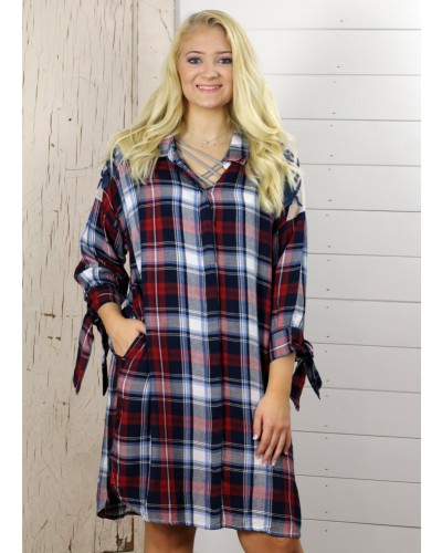 3/4 Sleeve Dress in Navy Plaid/Embro by Dex