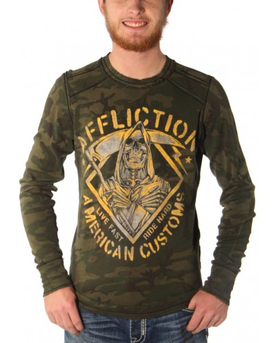 Book of Life Long Sleeve Thermal in Mil Green Camo/Black by Affliction