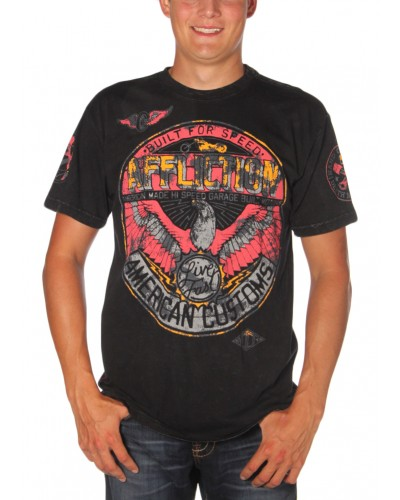 AC Bonded S/S Tee in Black Lava Wash by Affliction