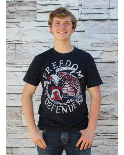 S/S Home of the Brave Tee in Black Lava Wash by Affliction