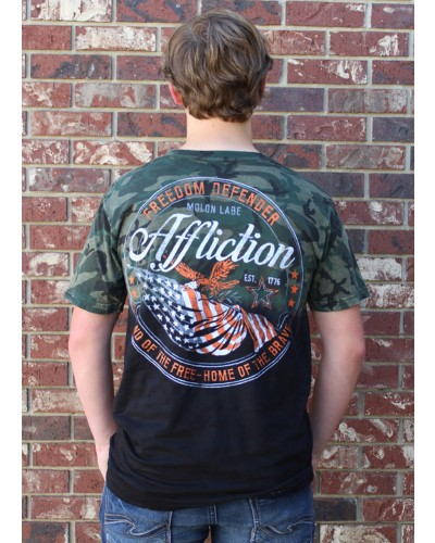 Flag of Freedom s/s Tee M. Grn Camo Lava/Blk Dip Dye by Affliction