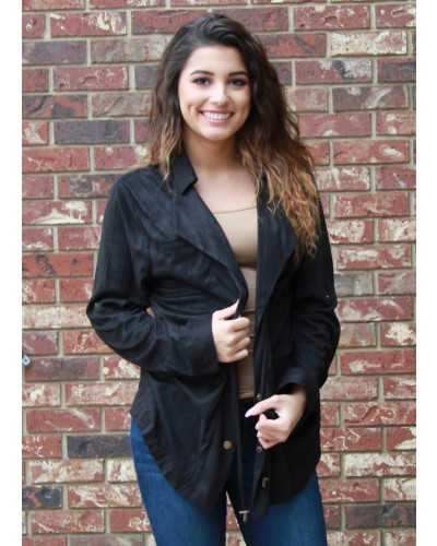 Suede Button Up Jacket w/Drawstring Waist Tie and Roll Up Sleeves in Black by Umgee