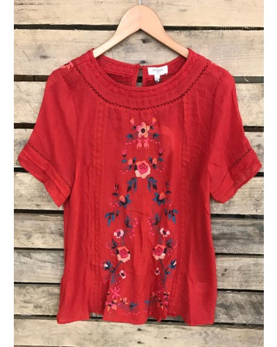 Short Sleeve Top w/Floral Embroidery in Red by Umgee