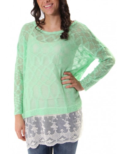 Bat Wing Knit Sweater with Under Lace Detail in Mint