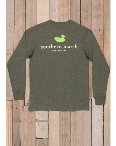 Long Sleeve Authentic Tee Shirt in Washed Dark by Southern Marsh