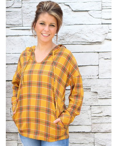 Plaid Hooded Pullover in Mustard by Jodifl