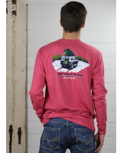 L/S Best Time of the Year Tee in Heather Crimson by Burlebo