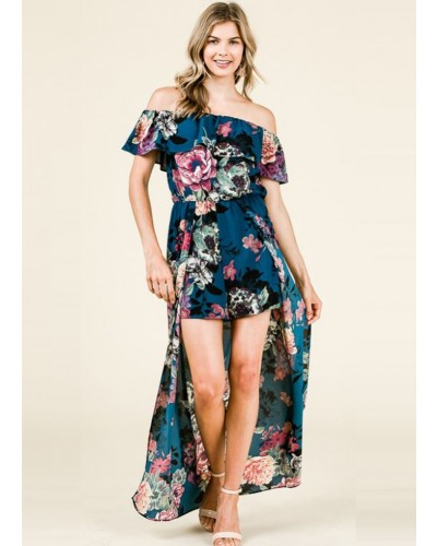 Floral Strapless Romper in Teal by Ces Femme