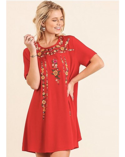 A Line Dress w/Floral Embroidery Details in Chilli Powder by Umgee