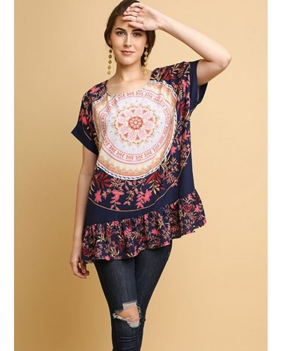 S/S Medallion and Floral Print Top w/Ruffle Bottom Hem in Navy by Umgee