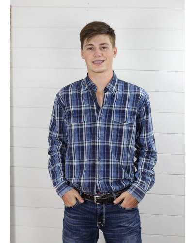 L/S Blue Washed Cotton Plaid by F/X Fusion