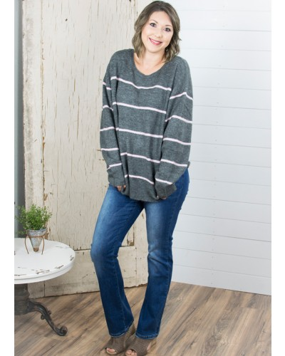 L/S Striped Knit Pullover Sweater in Heather Grey/Pink by Umgee