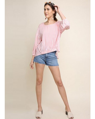 3/4 Sleeve Square Neck Top with High Low Hem by Umgee