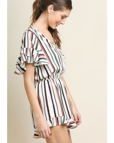 Layered Ruffled Sleeve Striped Short Romper by Umgee