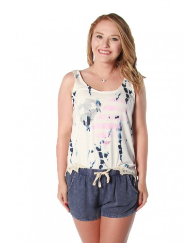 Ivory/Navy Tie Dye Flag Heart Crochet Trim Tank by Ocean Drive