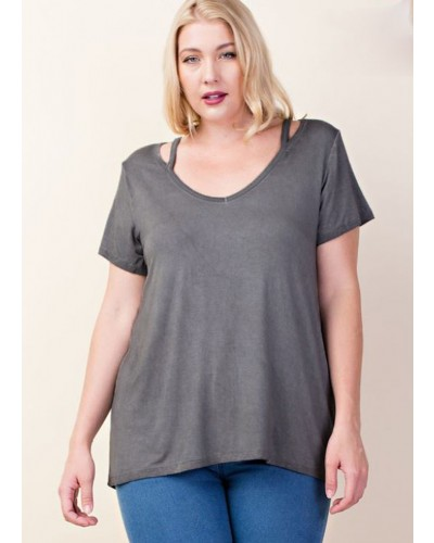 Plus S/S Cut Out Top in Charcoal by L Love