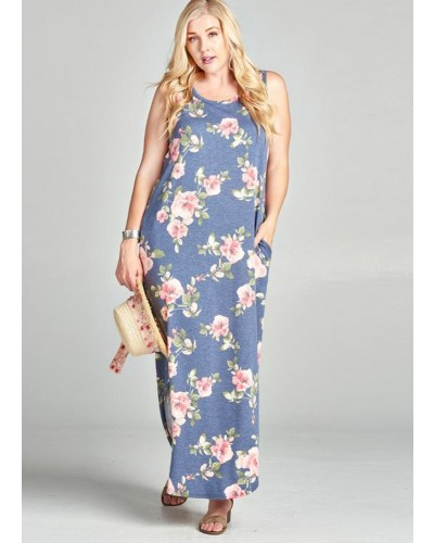 Plus Sleeveless Floral Print Maxi Dress in Navy
