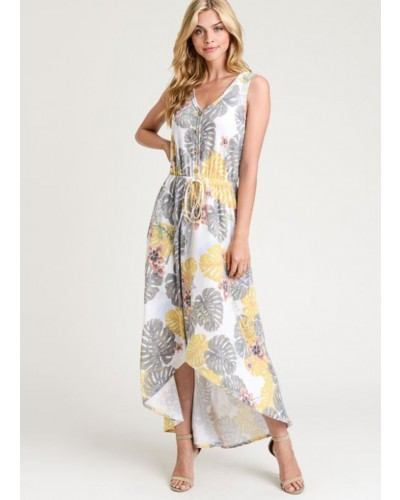 Leaf Print Maxi Dress in Green by First Love