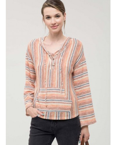 Striped Lace Up Top in Rust Multi