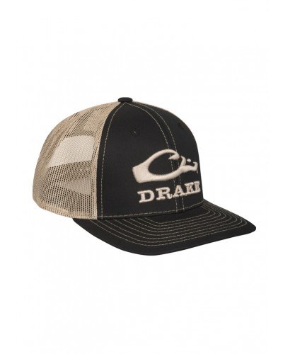 Logo Mesh Back Cap in Black/Tan