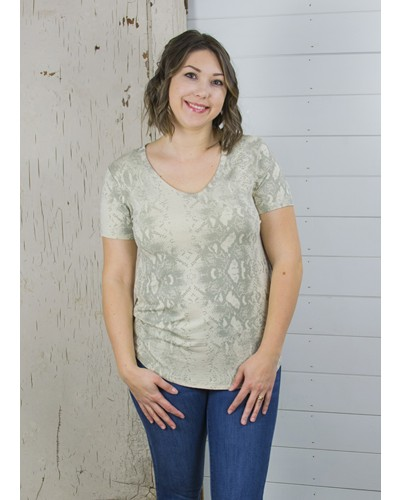 Paige V Neck Snake Print Tee in Cosmic Latte by Dear John