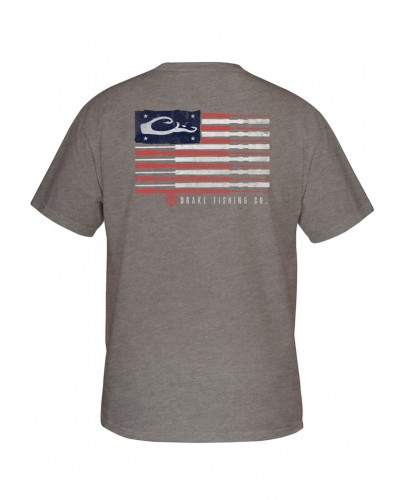S/S Fishing American Flag Tee in Graphite Heather by Drake