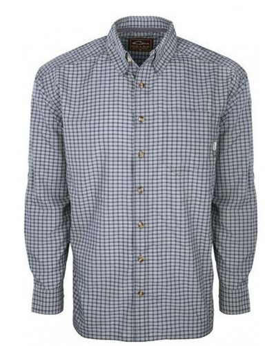 L/S Featherlite Check Shirt in Dark Navy by Drake