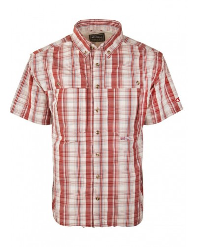 Wingshooter S/S Madras Plaid in Dark Red by Drake