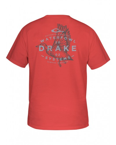 S/S Flying Drake T-Shirt in Dusty Red by Drake