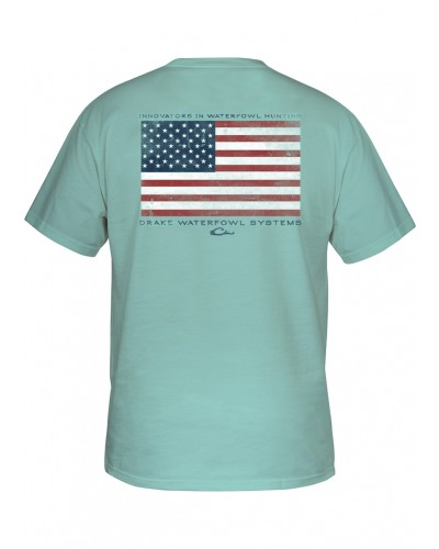 S/S Drake American Flag T-Shirt in Celadon by Drake