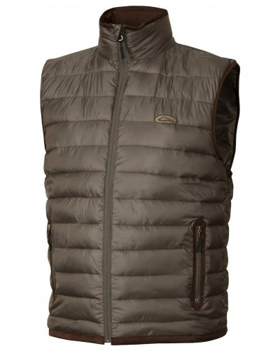 Double Down Vest in Pintail Brown by Drake