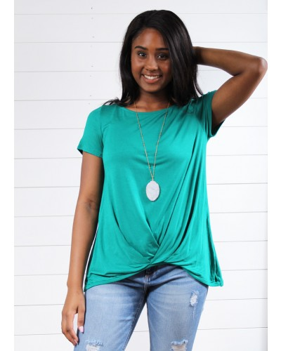 Solid Jersey S/S Casual Top in Emerald