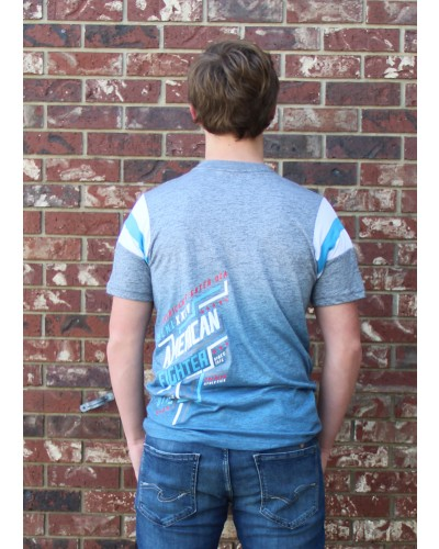 Philmont s/s Tee H.Grey/White/Cold Blue by American Fighter