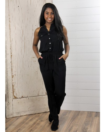 Sleeveless Utility Jumpsuit in Black by Dress Forum
