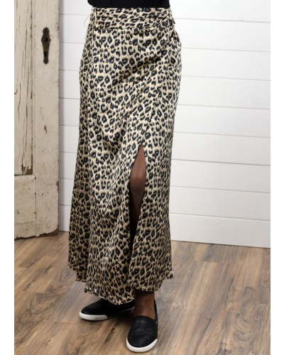 Leopard Print Maxi Skirt in Taupe/Brown by Dress Forum