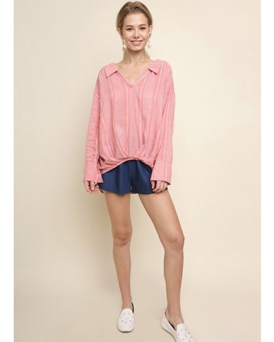 V Neck High Low Top in Blush by Umgee