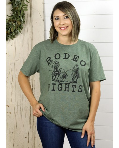 Rodeo Nights on Heather Army Green Gildan Softstyle Tee by